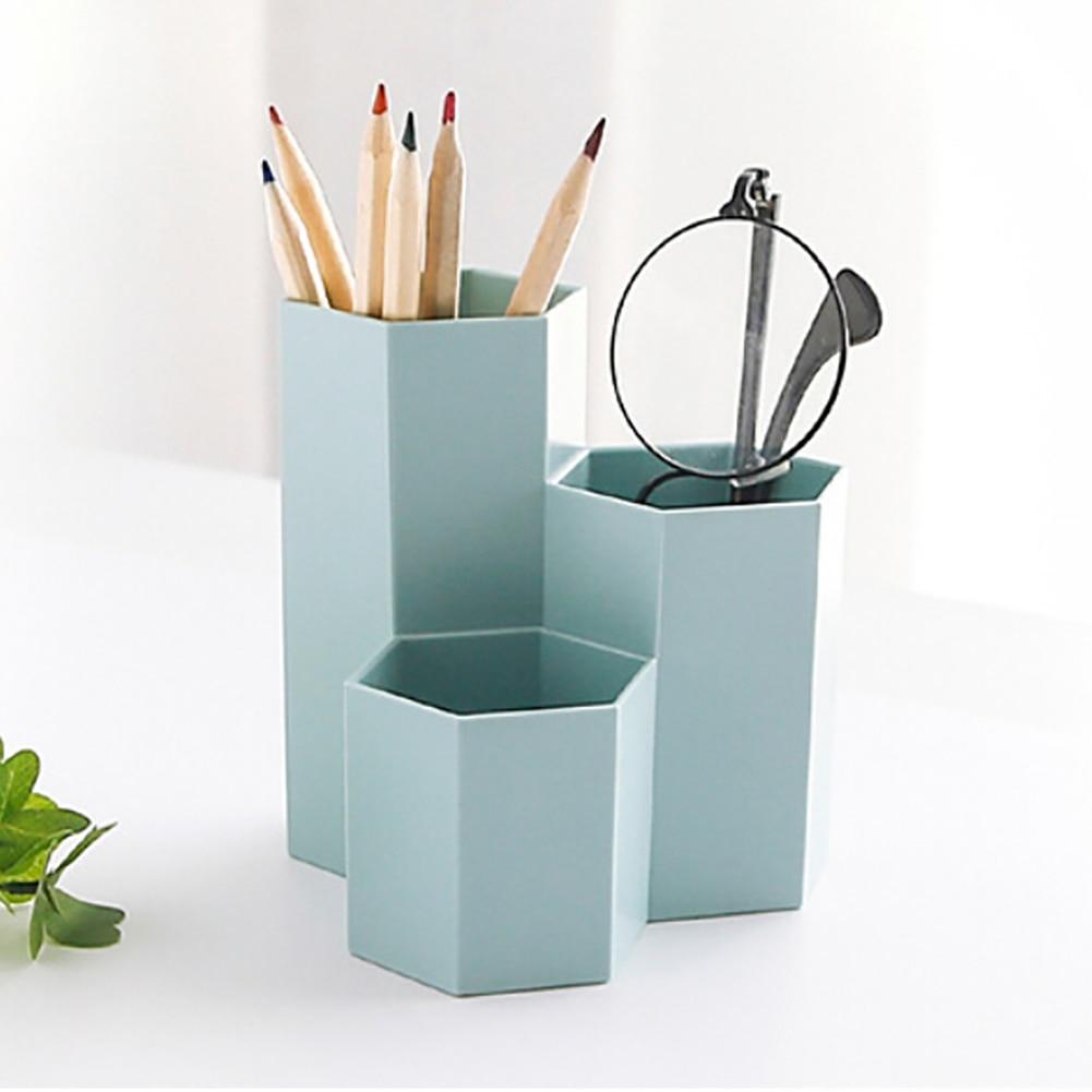 Korean Creative hex Pencil holder simple plastic desktop storage box Student office Supplies|Pen Holders| |  - title=