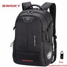 SWICKY многофункциональная мужская сумка большой емкости, модный дорожный водонепроницаемый рюкзак для ноутбука 15,6 дюйма с usb зарядкой и защитой от кражи