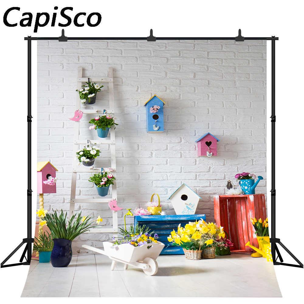 Capisco אביב פרחי פסחא לבן לבני קיר תינוק צילום רקע מותאם אישית צילום תפאורות צילום סטודיו