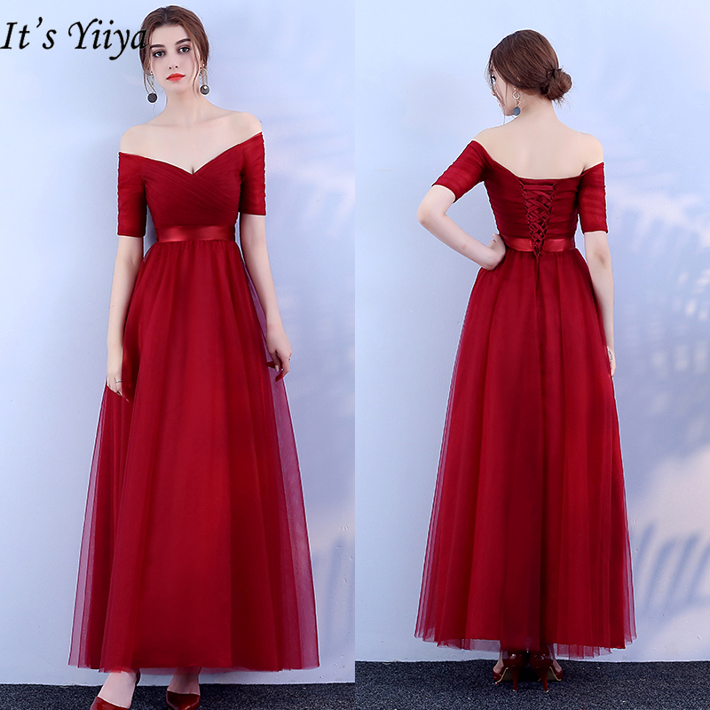 It's YiiYa Evening Dress 2019 Boat Neck Off Shoulder Burgundy A-line Formal Dresses Elegant Long Party Gown Plus Size  JY001
