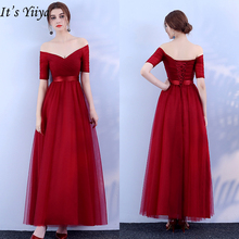 Its YiiYa Evening Dress 2019 Boat Neck Off Shoulder Burgundy A-line Formal Dresses Elegant Long Party Gown Plus Size  JY001