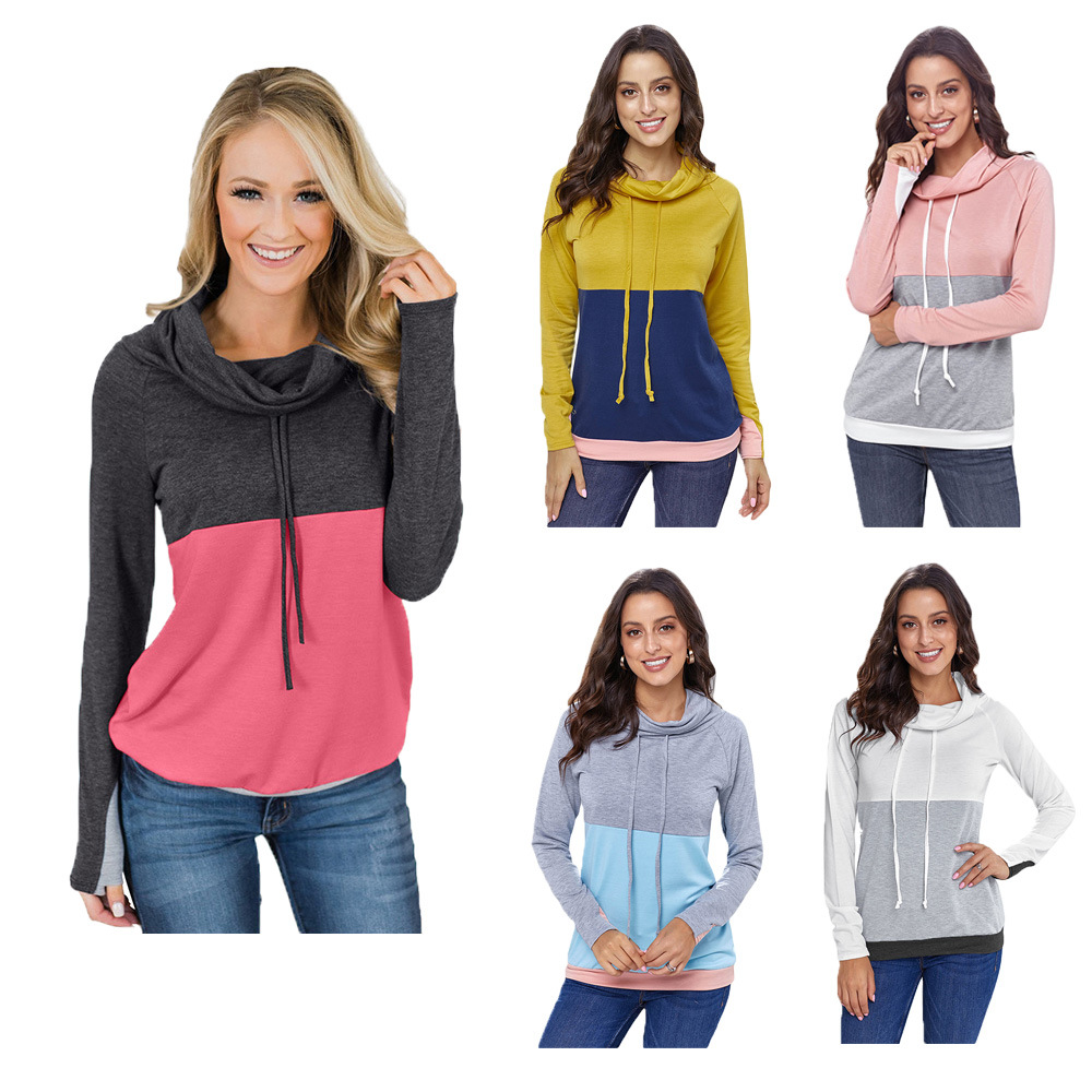 Madam Clothing OWLPRINCESS Hoodie Women's Autumn New Style Contrast Color Joint Long Sleeve