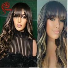 Hesperis 200 gęstość #27 blond pełna maszyna wykonana peruka dla kobiet brazylijski skóry głowy Top Remy Glueless ludzkich włosów peruki z grzywką