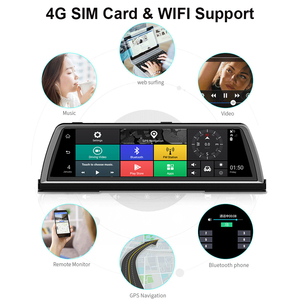 """Image 2 - WHEXUNE 4CH kameralar lens 10 """"Android Navi araba kamera FHD 1080P gps dikiz aynası ADAS WIFI dvr sürücü kaydedici RAM 2GB + ROM 32G"""