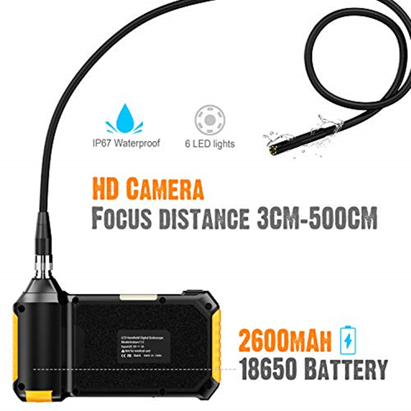 Image 2 - Antscope 1080P HD 8mm Industrial Endoscope 4.3 Inch Auto Repair Inspection Camera Endoscope Lithium Battery Snake Hard Camera 19-in Surveillance Cameras from Security & Protection