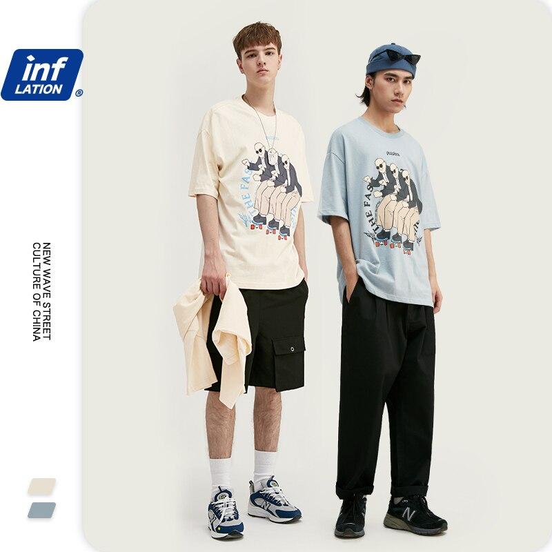INFLATION Hip Hop Streetwear Men T-shirt 2020 Summer Printed Funny Men Tshirts Cotton Oversize Men Tee футболка мужская 1142S20