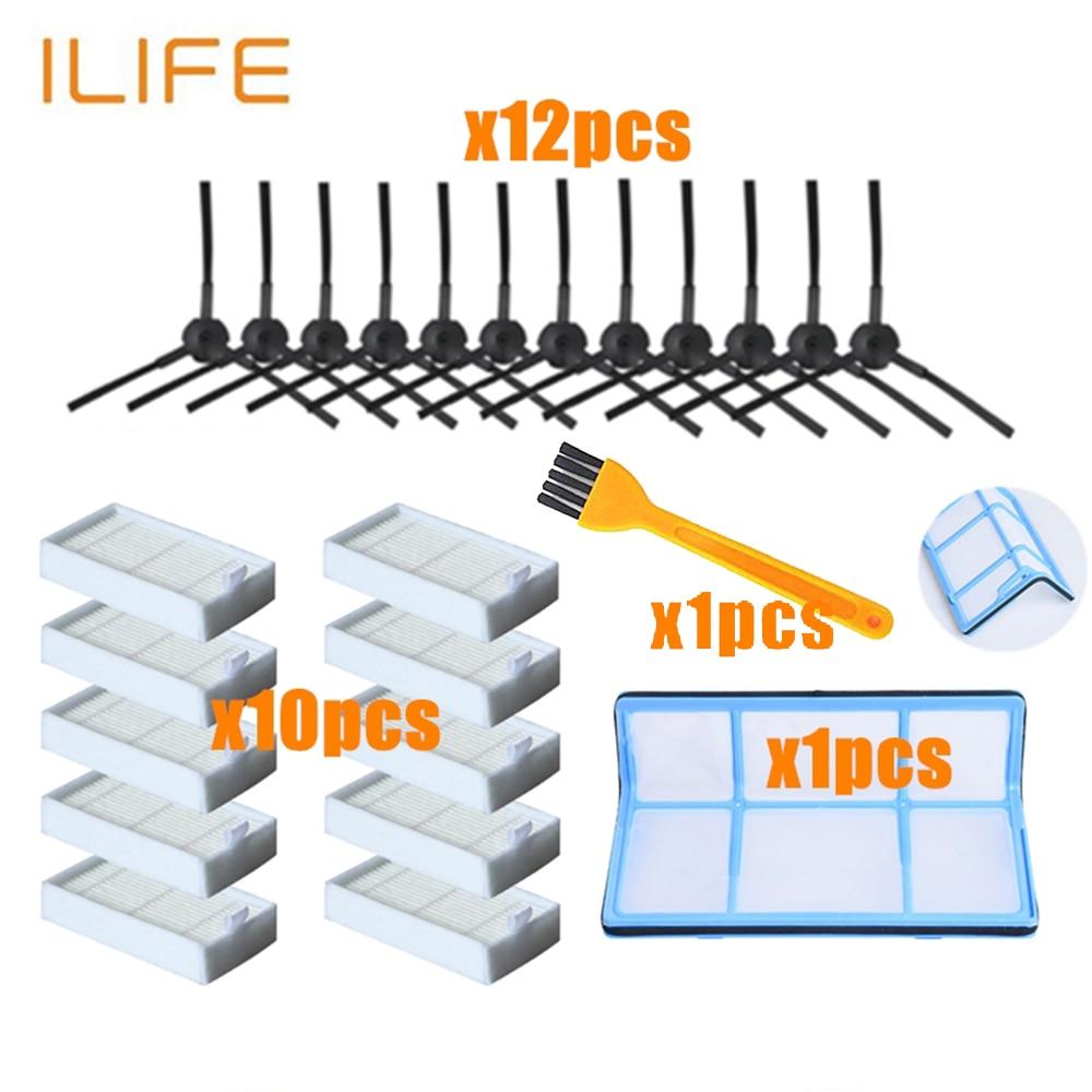 Primary Dust Filter Side Brush Efficient Hepa Filter For Ilife V5 V5s V3 V3s V5pro V50 V55 X5 V5s Pro Robot Vacuum Cleaner Parts