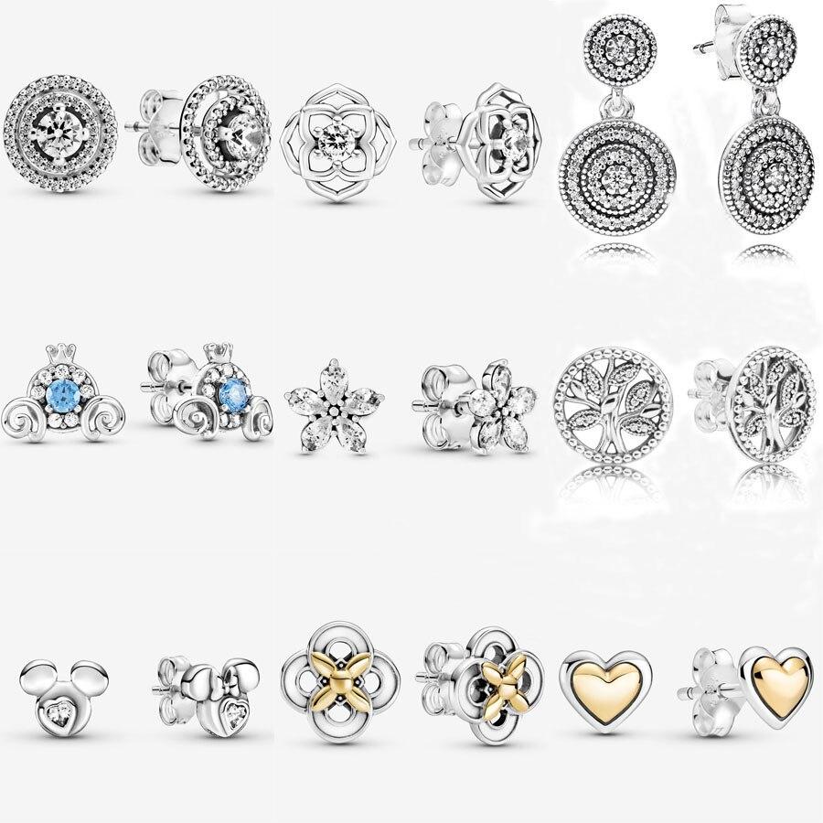 Лидер продаж 925 стерлингового серебра Детская Пижама с Микки Маусом и Минни-Маус силуэт серьги-гвоздики для женщин ювелирные изделия делая ...