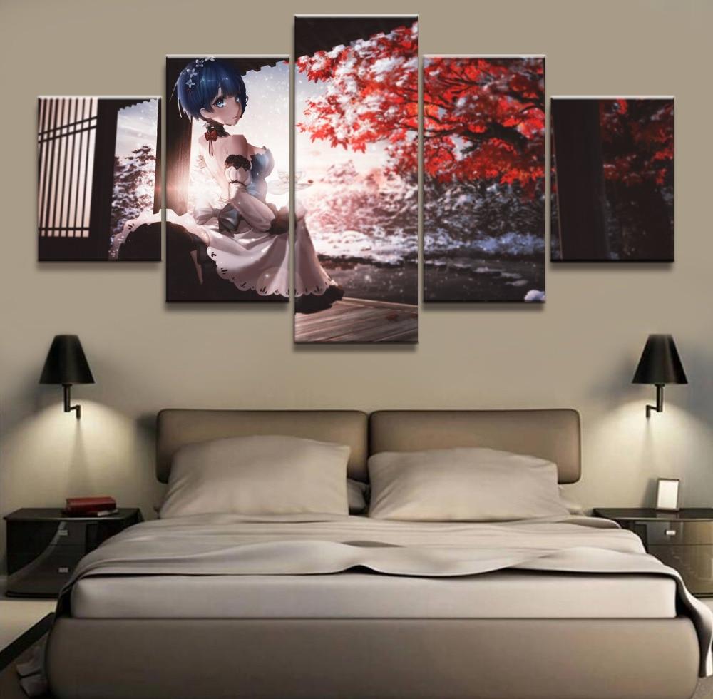 TRTRT 5 St/ück Leinwand Anime Malerei Rem Re Leben in Einer Anderen Welt als Zero HD Print///Wandkunst Poster Home Decoration Gerahmt-150x80cm-Gerahmt
