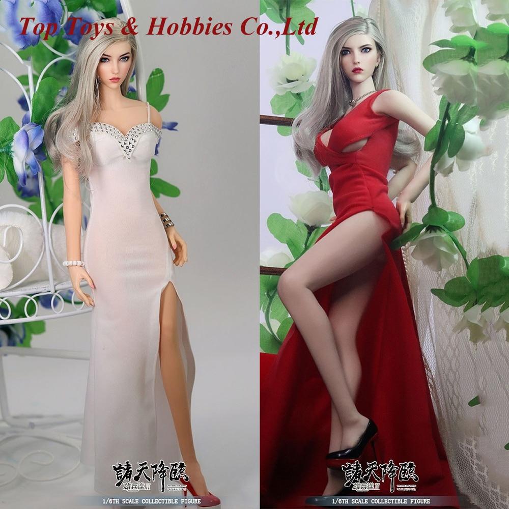 Полный комплект куклы 1/6 Ангел Янь красавица девочка женский Набор фигурок с 2 комплектами платья белое и красное платье