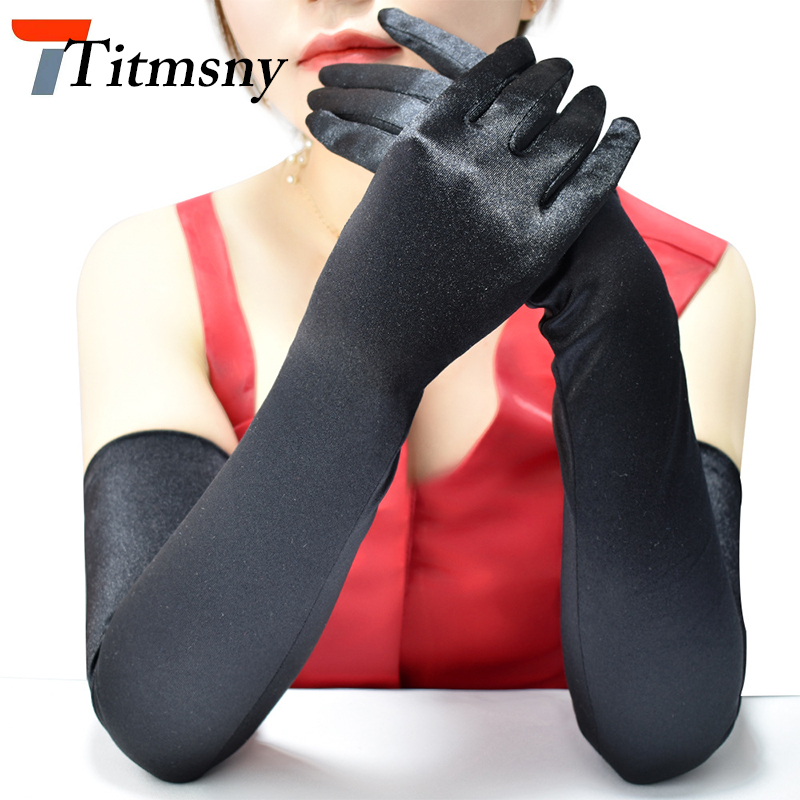 Fashion Sexy Women's Long Satin Gloves Black White Red Ladies Girls Party Prom Dance Performance Accessories Gloves