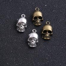 6 sztuk partia 11*20mm Antique stop metali 3D czaszki Charms biżuteria Charms wisiorek Fit tworzenia biżuterii Charms diy tanie tanio YMLIAO CN (pochodzenie) Ze stopu cynku Hearts Moda 3L07 TRENDY Antique Bronze Antique Silver Antique Gold Silver Inner Size 11*20mm