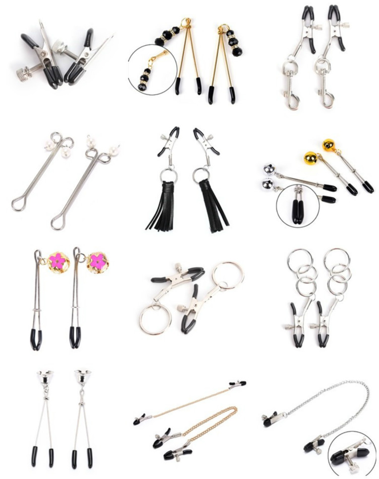 1 Pair Metal Bondage Nipple Clamps Chain Nipple Clips Labia Clamps Slave BDSM Women Toys Adult Sex Games Vagina Labia Spreader