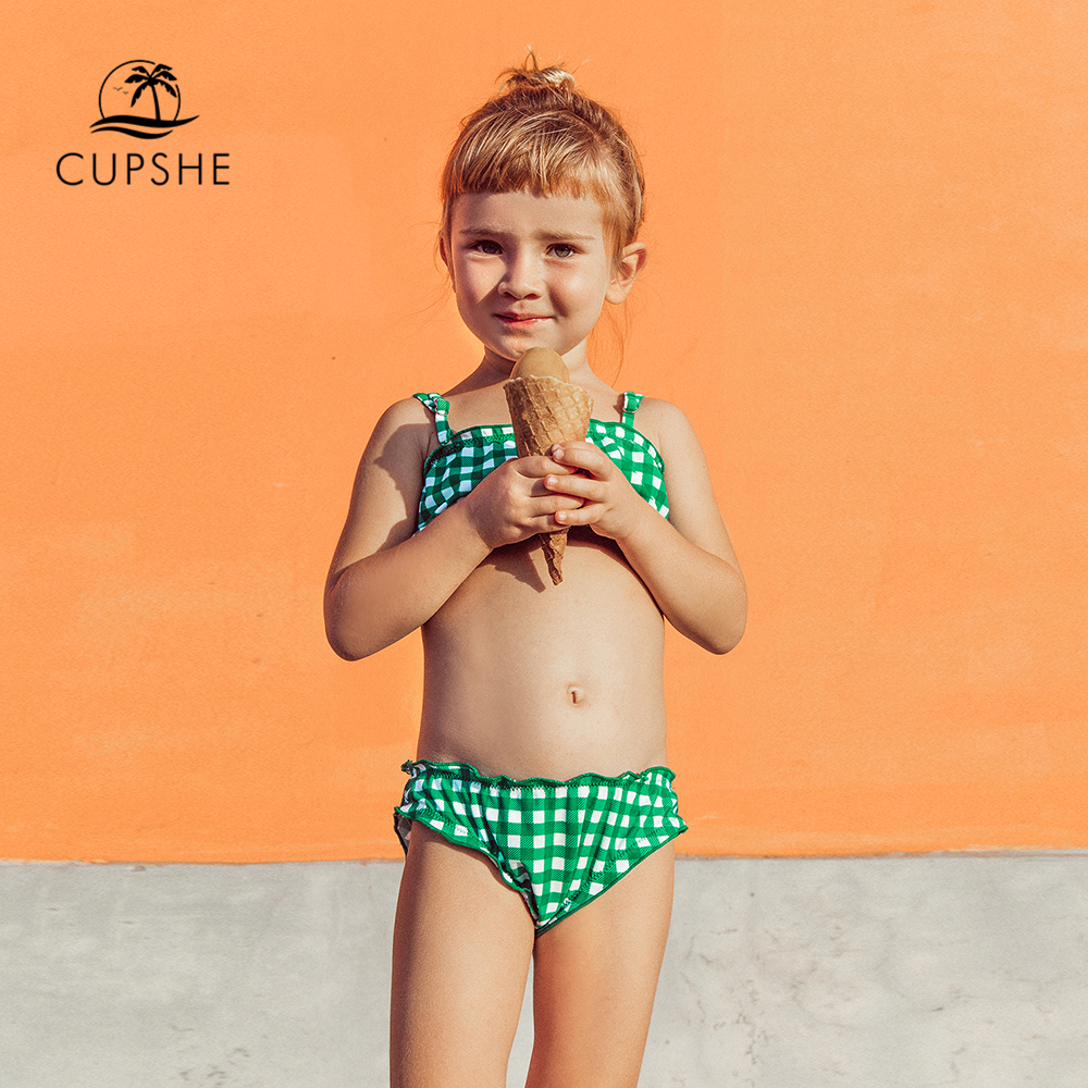 CUPSHE Green And White Gingham Bikini Sets For Toddler Girls 2020 Girls Kids Children Swimsuits Swim Bathing Suits 2-13 Years