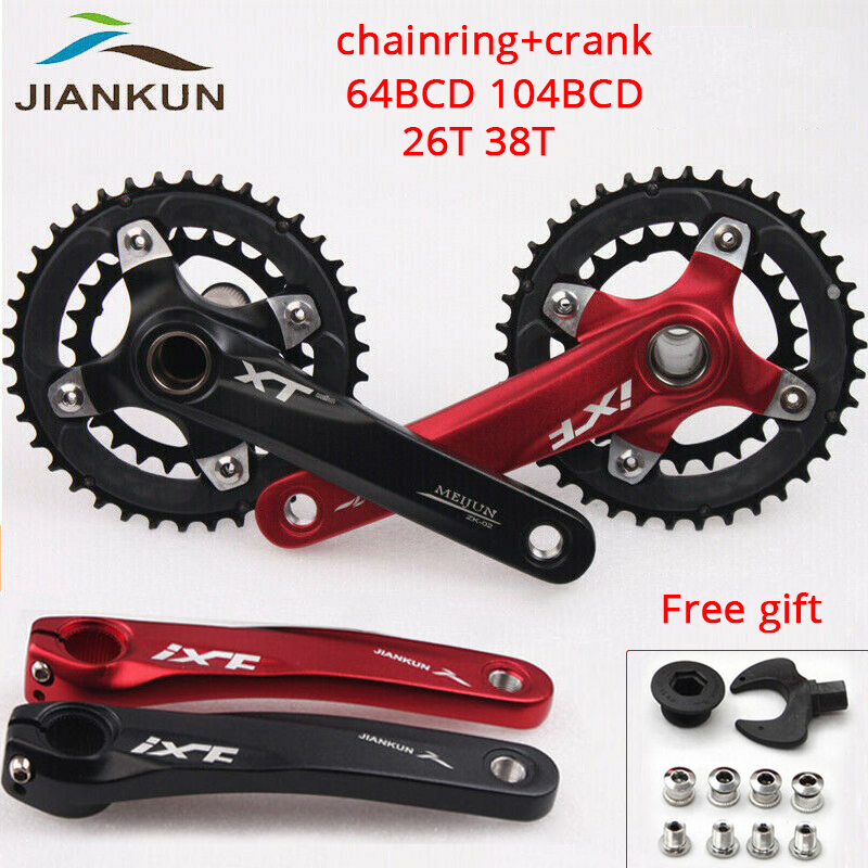 JIANKUN 104/64BCD Aluminium Crankset MTB 26/38T Bicycle Chainring 170mm Double/Triple Crank 2*10s Road Bike Crank Bicycle Parts