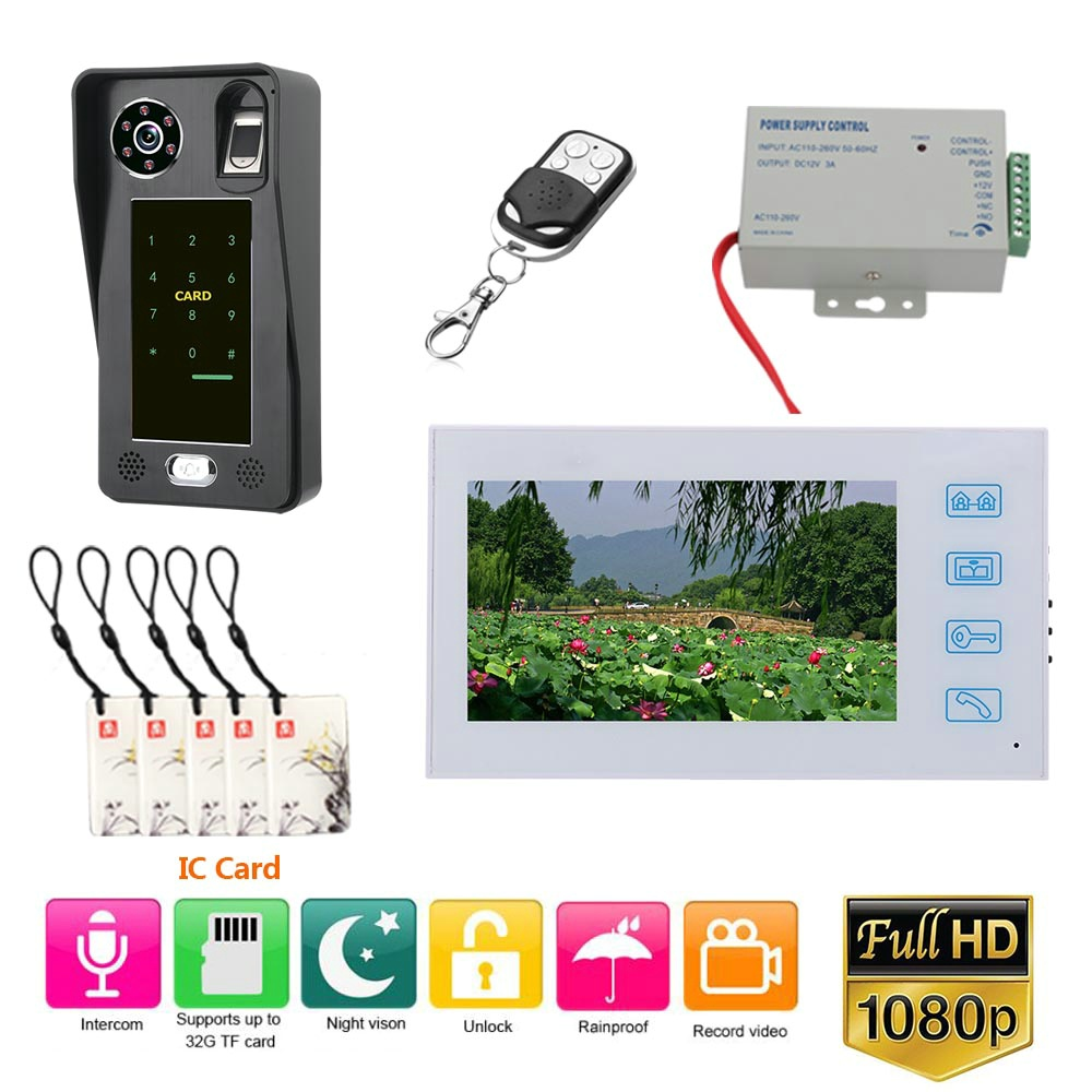 7 Inch Record Wired Video Door Phone Doorbell Intercom System With  Fingerprint RFIC Card AHD 1080P Camera