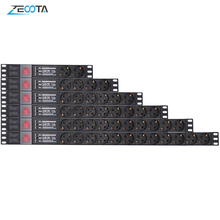 Tira de alimentación PDU para armario de red unidad de distribución, enchufe europeo, interruptor de protección contra sobretensiones, cable de extensión de 2m
