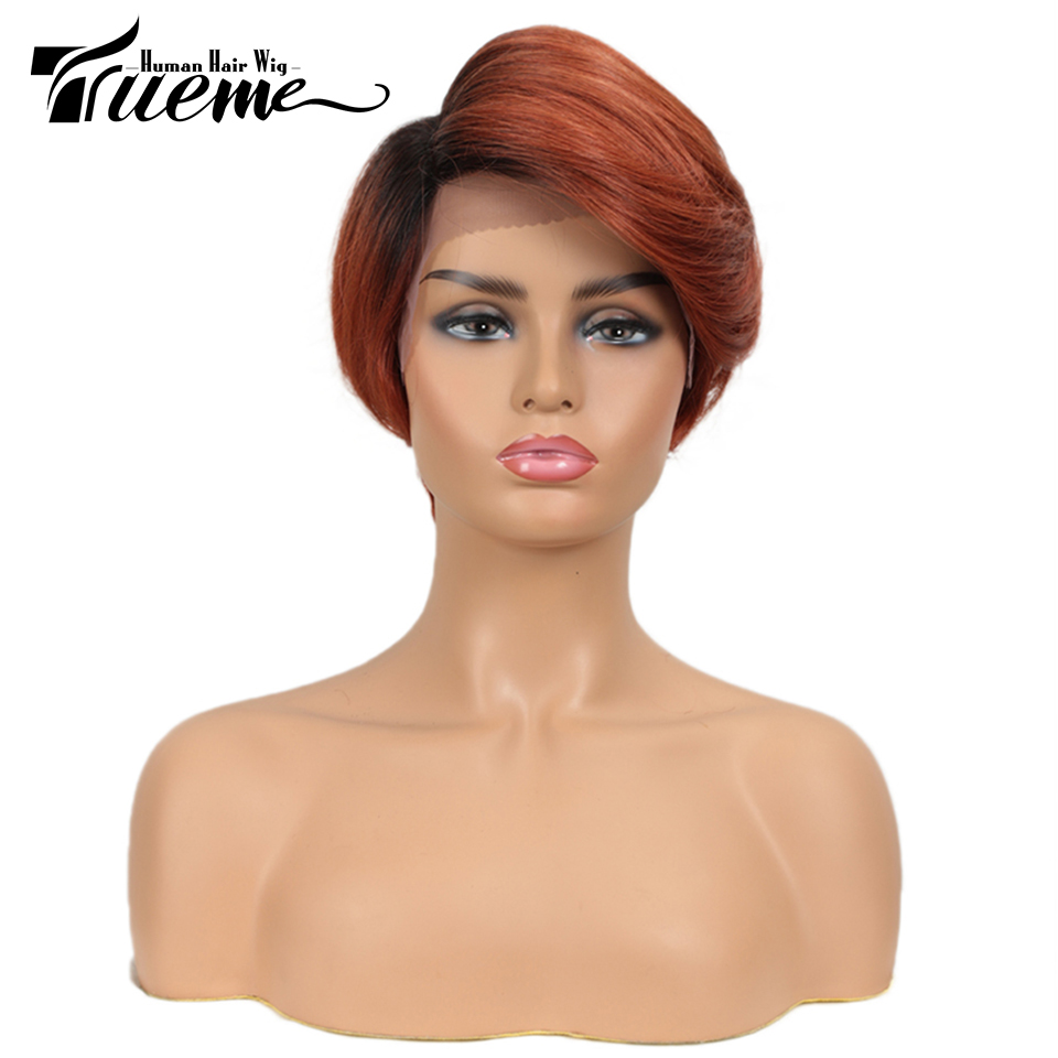 Trueme Lace Part Human Hair Wigs Short Side Part Lace Front Wig  Remy Brazilian Hair Nature Wave Ombre Brown Pixie Cut Wig