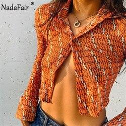 Nadafair Sexy See Though Mesh Tops Harajuku 2021 Summer Orange Vintage Y2K 90S T Shirt Women Long Sleeve Crop Tops