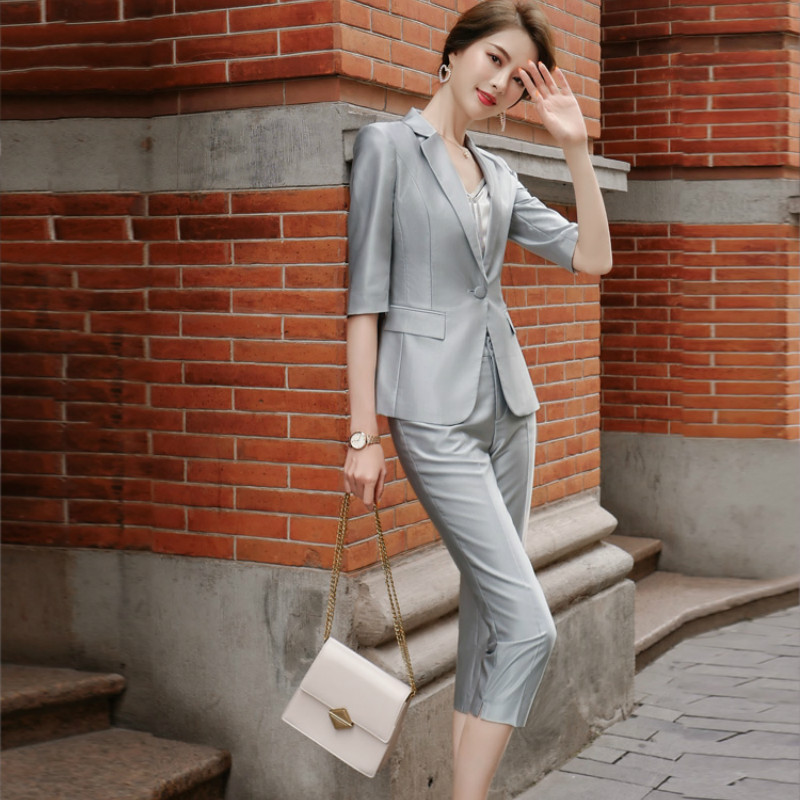 2020 Summer Women's Business Suit Office Suit Casual Slim-fit Half-sleeved Blazer Temperament Cropped Trousers Two-piece Set