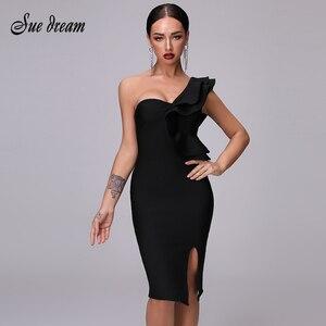 Image 1 - Sexy Bandage Black Split Dress Womens Dress 2020 New Club One Shoulder Tight Dress Ruffled Fashion Sexy Party Christmas Dress