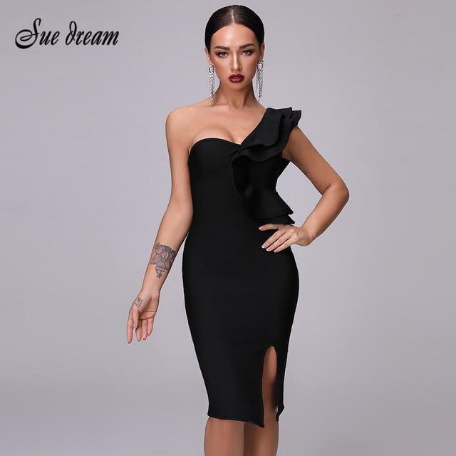 Sexy Bandage Black Split Dress Womens Dress 2020 New Club One Shoulder Tight Dress Ruffled Fashion Sexy Party Christmas Dress