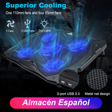 TeckNet Quiet Laptop Cooling Pad Stand With 5 Fans at 1500 RPM and Blue LED Cooler fits 12-17, Adjustable Wind Speed