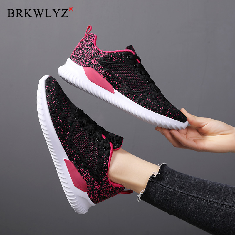 BRKWLYZ New Fashion Sneakers Women Flats Shoes Breathable Mesh Casual Shoes Woman Lace-up Walking Laides Shoes Zapatillas Mujer