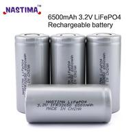 Nastima 4pcs Lifepo4 32650 3.2V 6500mAh Rechargeable Battery With Flat Top For Backup Power flashlight Light Electric car UPS RC