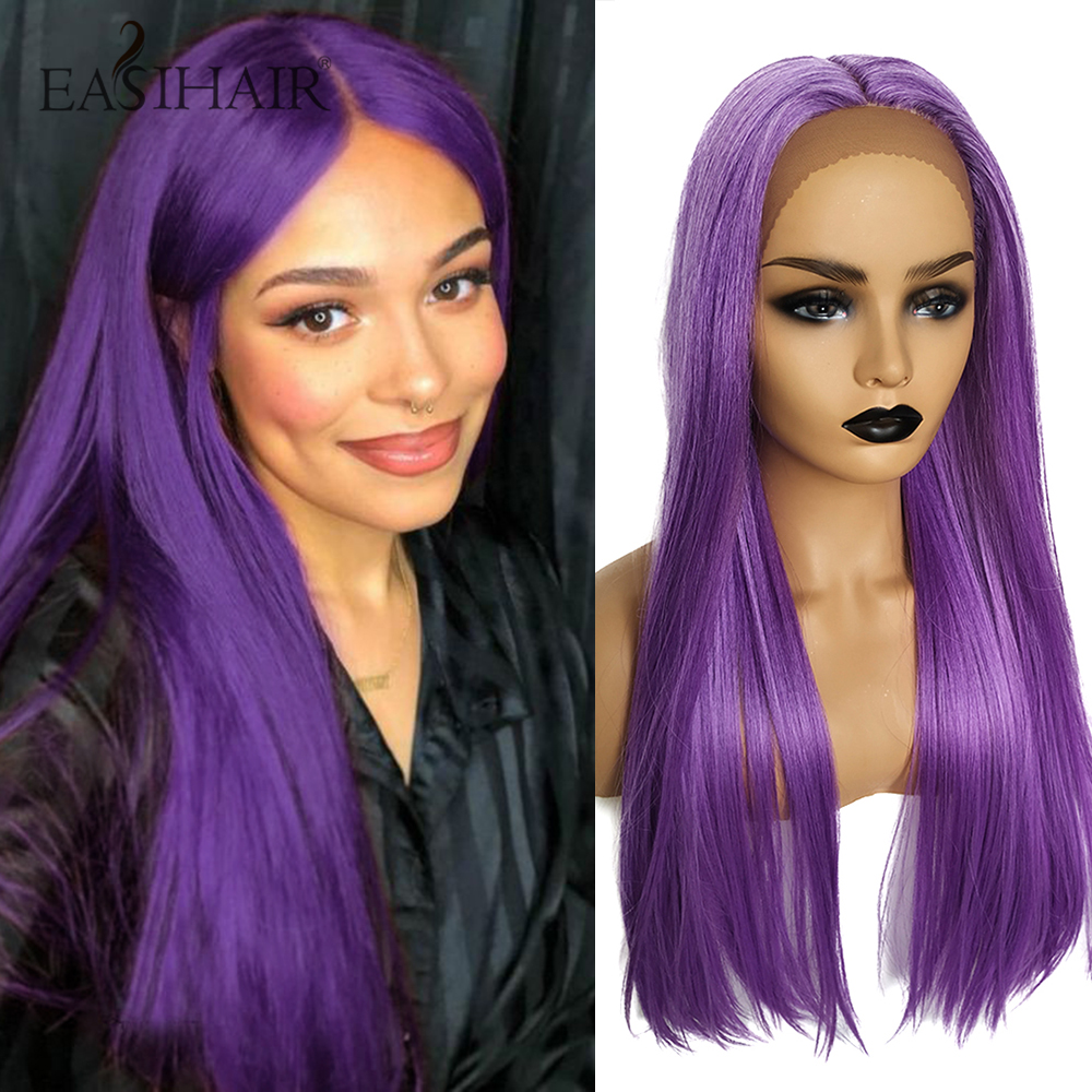 EASIHAIR Long Purple Straight Lace Front Synthetic Wigs With Baby Hair Lace Wigs For Women Middle Part High Density Cosplay Wigs