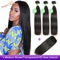 Angel Grace волосы бразильские пучки прямых и волнистых волос с HD закрытием 30 32 34 36 дюймов человеческие волосы 3 пряди с закрытием Remy - фото