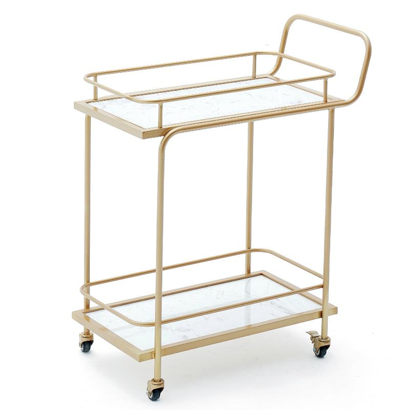Golden Hotel Drinks Cart Restaurant Mobile Hand Push Diner Creative Meal Tea Cart