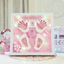 Mão e pé impressão modelagem argila mão pé diy moldura da foto do bebê led luz slime colorido argila lembrança bebê recém-nascido plasticina
