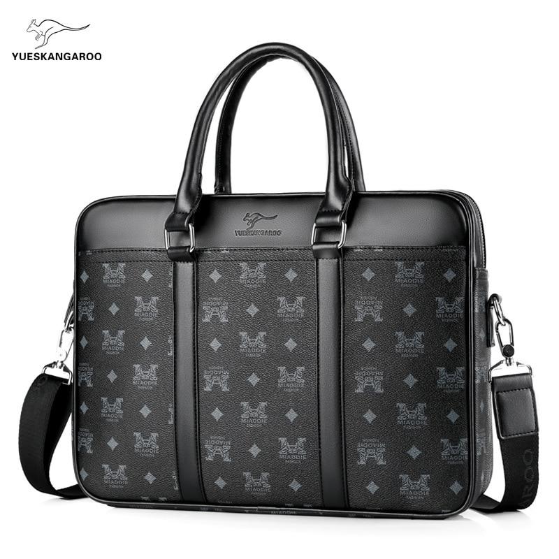 YUESKANGAROO New Luxury Men's Briefcase Satchel Bags PVC Pattern Business Laptop Handbag Large Capacity Male Travel Shoulder Bag