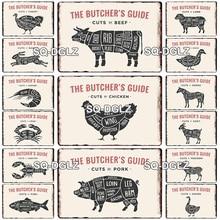 El carnicero guía de Metal Vintage signo granja decoración lata con letrero para Bar placas carne detalle de Metal cuadros para manualidades placas de arte Decoración