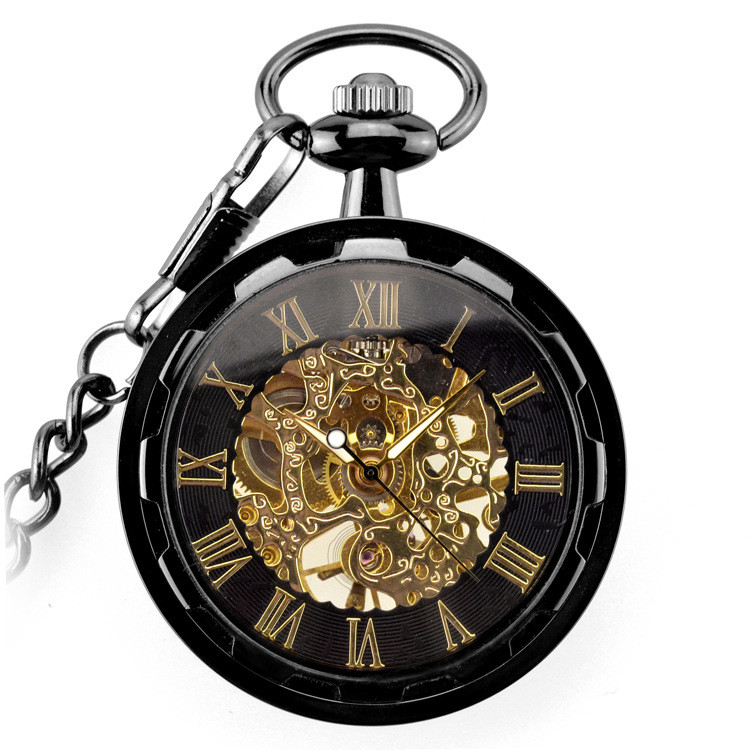 Mechanical Pocket Watches Dial With Fob Chain 37.5CM Bronze Fashion & Casual Steampunk Hollow Retro Skeleton
