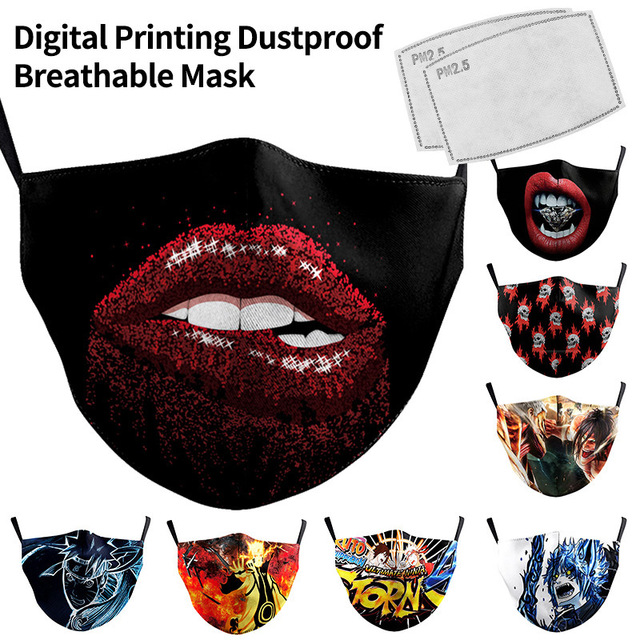 Printing Mask Reusable Protective PM2.5 Filter Mouth Mask Anti Dust Face Mask Bacteria Proof Flu Mask Printing Dropshipping