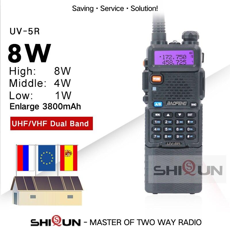 Baofeng UHF VHF Walkie-Talkie Upgrade 3800mah-Battery Dual-Band UV-5R Two-Way-Radio Portable