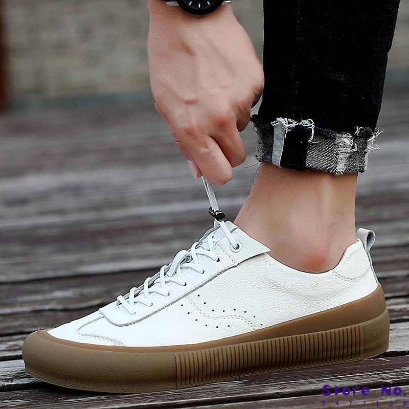 Sneakers Men Shoes Genuine Leather Top Quality Original Brand Autumn Casual Men Shoe Simple White Sneakers Comfortable Men Flats