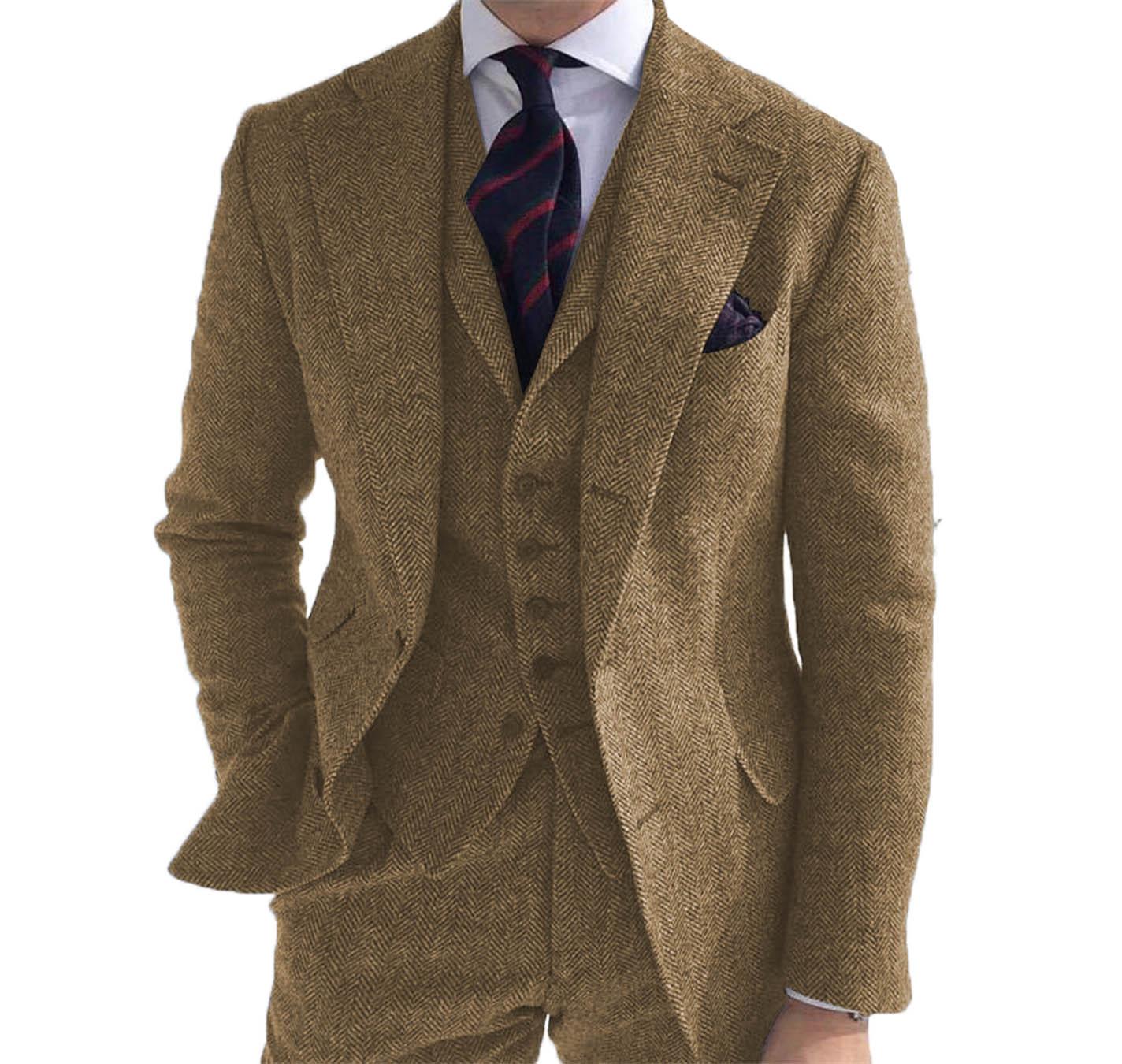 Коричневый шерстяной костюм мужской купить ткань шириной 5 м