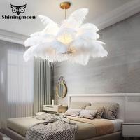 Nordic Luxury Pendant Lights Post modern White Feather Pendant Lamp Bedroom Living Room Lighting Cafe Deco Lighting Luminaria