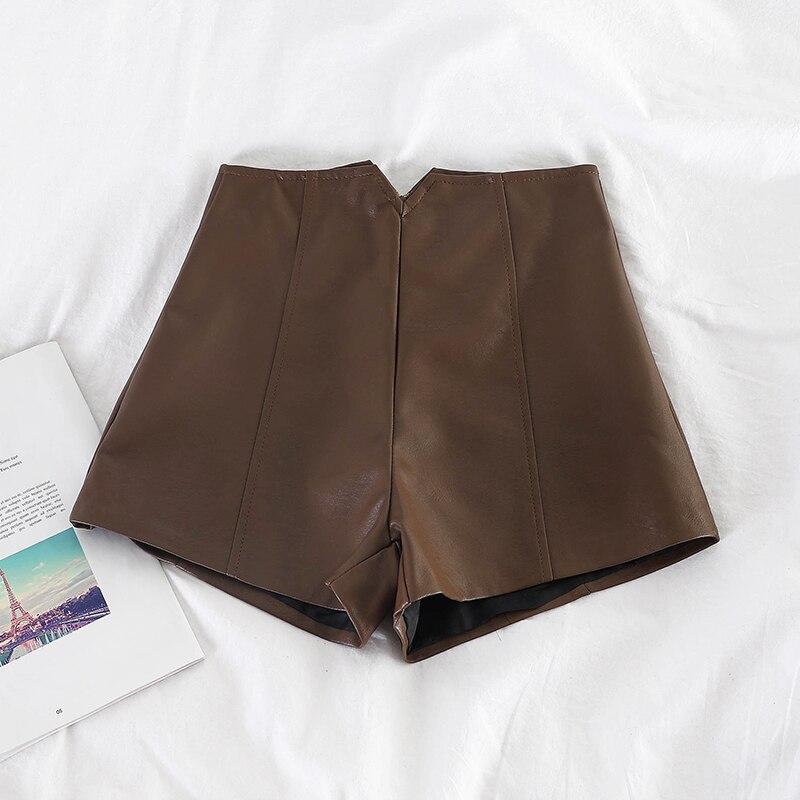 HELIAR Spring Female Shorts Women Pu Leather Zipper Fly Outerwear High Waist Shorts Wide Leg Women 2019 Autumn Shorts For Women