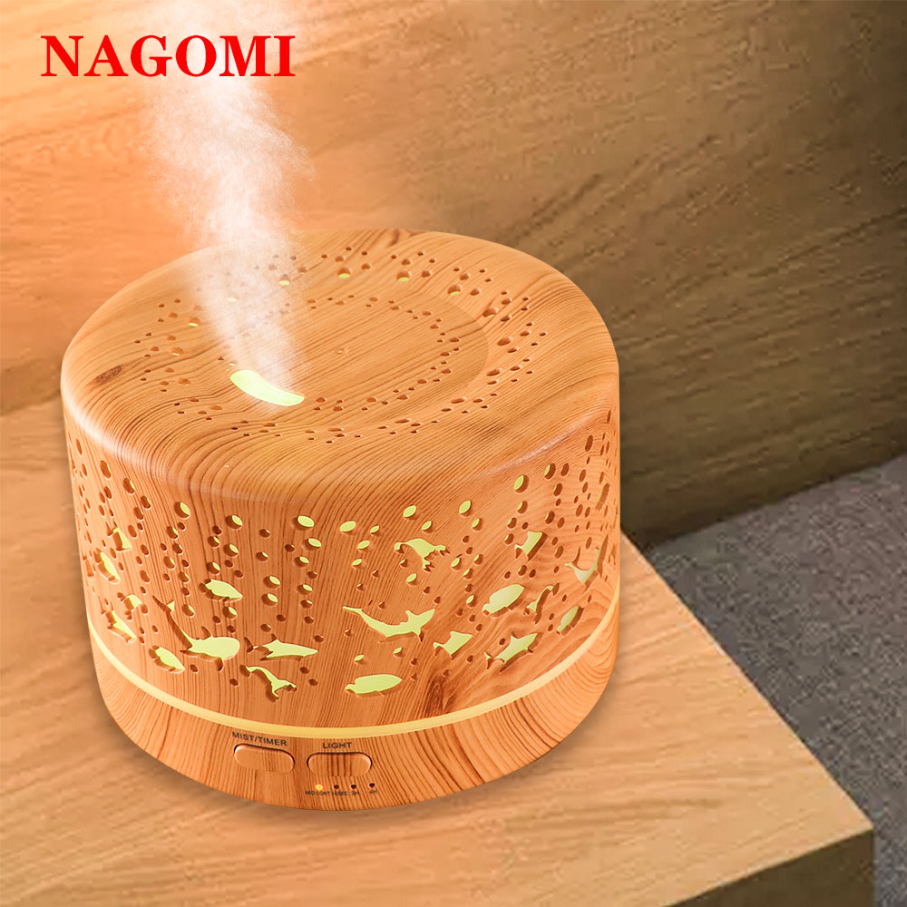 700ml Aroma Essential Oil Diffuser Air Humidifier Underwater World Wood Grain Mist Maker 7Color Light Change For Home Bedroom