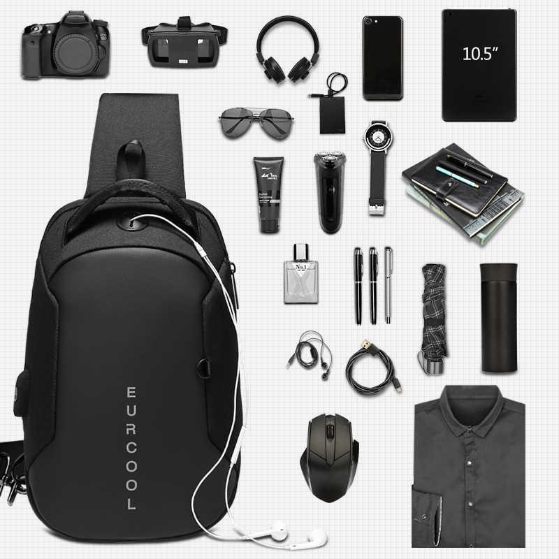 Çok fonksiyonlu Crossbody çanta erkekler USB şarj göğüs paketi kısa gezi messenger göğüs çantası su geçirmez omuzdan askili çanta erkek n1825