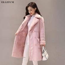 Женское замшевое меховое зимнее пальто модное плотное длинное шерстяное пальто из искусственной овчины женская теплая шерстяная куртка пальто