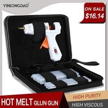 цена на 40-150W Industrial Grade Copper Nozzle Hot Melt Glue Gun+20Pc High-purity High Viscosity Glue Sticks Mini Heat Temperature Tool