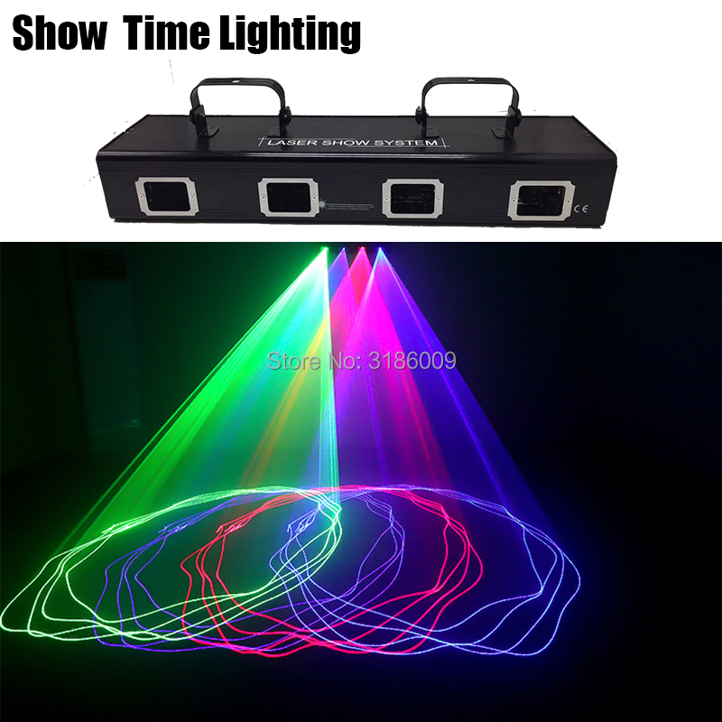 Powerful Red Green Blue Pink Laser Beam Line Scan Disco Lazer 4 Lens Bar DJ Laser Good Use For Home Party KTV Night CLub Bar