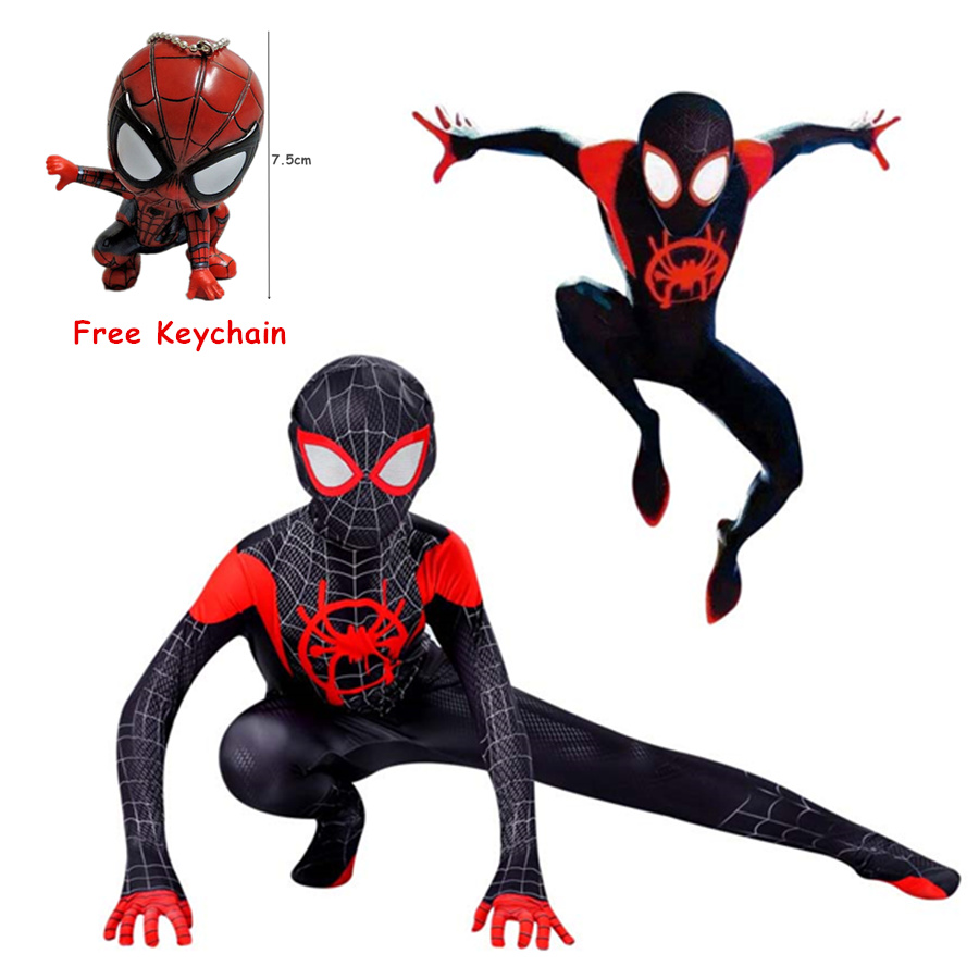 Homelander Costume Spider-Man Into The Spider-Verse Miles Morales for Kid Cosplay Costume Zentai Spiderman Pattern Bodysuit Suit image