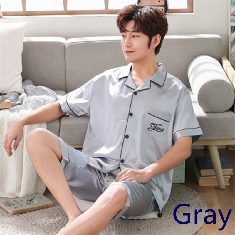 2020 Men's Stain Silk Pajama Set Summer Homewear Pijama Hombre Verano Short Sleeve Shorts Sexy Man Nightwear Men Pajama Set