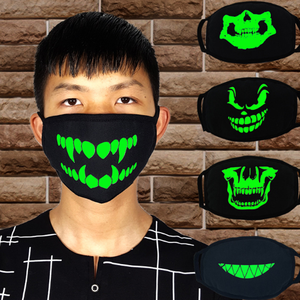 Halloween Punk Fangs Luminous Mouth Masks Black Cotton Anti Dust Face Mask Unisex Teeth Mask